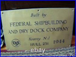USS Alshain Ship Builders Plaque Plate WWII Korean War US NAVY 1944 RARE