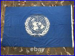 United Nations UN Korean War Vietnam Era Peacekeepers Cotton Battle Camp Flag