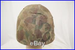Untouched Korean War Era Usmc Camo Helmet And Cover