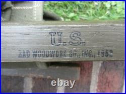 Us Ww2 Korean War Vietnam Wooden Cot 1952 Dated Wood Canvas Vintage