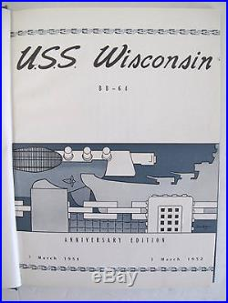 Uss Wisconsin Bb-64 1951 1952 Korean War Cruise Book Recommissioned Gunline