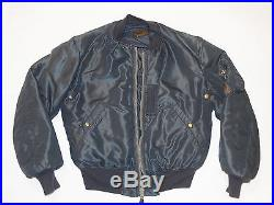 VINTAGE 1950s KOREAN WAR B-15C FLIGHT JACKET! MODIFIED COLLAR! BLUE NYLON! 38