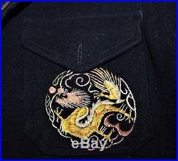 Vintage 1953 Korean War End Theater Made Embroidered Dragon Jacket