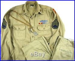 VINTAGE 50s KOREAN WAR MILITARY UNIFORM SHIRT PANTS DOG TAGS PIN PATCH 25th ARMY