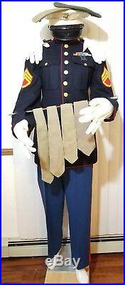 VINTAGE U. S. MARINE SERGEANT DRESS UNIFORM KOREAN WAR With 12 Ribbon Bar