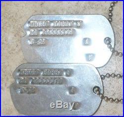 Vintage Us Army Korea Korean War Named Dog Tags Harry W Kruse