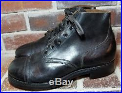 VTG 1951 Old Colony Shoe Co Black Panco Korean War Military Boots Size 8.5 EE