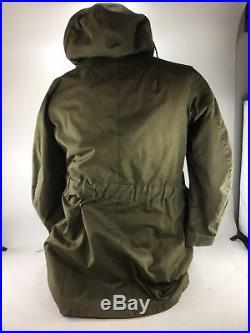 VTG 50s Korean War US Hooded Overcoat Parka Coat MEDIUM W Pile Liner Deck M1947