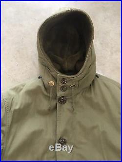 VTG 50s Korean War US Hooded Overcoat Parka Coat SMALL W Pile Liner Deck M1947