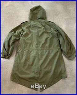 VTG 50s M-1951 Military Parka Shell Liner SMALL Hood US ARMY FISHTAIL Korean War