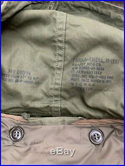 VTG M51 US ARMY Sateen Korean War Era FISH TAIL PARKA With Mohair Liner Medium