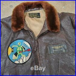 Vintage 1940s 1950s Korean War G-1 G1 leather Flight Jacket US Navy sz 42 named