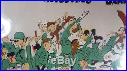 Vintage 1950's Korean War Trench Wall Art Funny Painting Artillery Lucky Seven