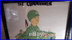 Vintage 1950's Korean War Trench Wall Art Funny Painting Commander Lucky Seven