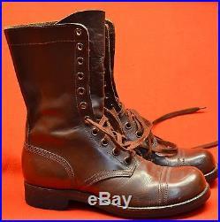 Vintage 1950's Korean War US Army Brown Leather Para Boots Sz 8 1/2 Endicott