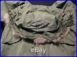 Vintage 1950's Korean War US M-1951 Fishtail Parka Wool Liner Fur Hood Small