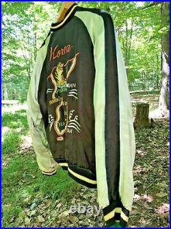 Vintage 1950s Embroidered Reversible Jacket Korean War Era Tigers Dragons