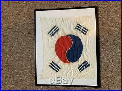 Vintage 1950s Korea Korean War Silk Flag
