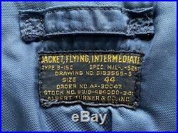 Vintage 1950s Korean War USAF B-15C Blue Flight Jacket Size 44 RARE Military 50s