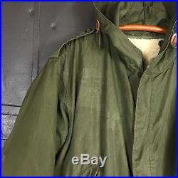 Vintage 1952 Korean War M-51 OG Green Mod Hooded Parka Wool Liner Sz Medium