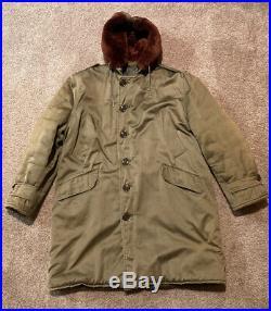 Vintage 1953 Korean War B-9 Parka Fur Lined Hood Quilted Lining Deep Color 38