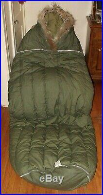 Vintage 1953 Korean War US Military Casualty Only Down Sleeping Bag Fur Liner