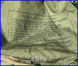 Vintage 50's M-1951 Korean War Extreme Cold Weather Green Fish Tail Parka Sz M