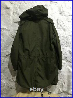 Vintage 50's US ARMY Korean War M1951 Fishtail PARKA Size Small with Hood & Liner