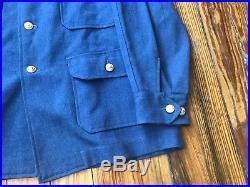 Vintage 50s Korean War Era USAF A-1A A-1B Wool Flying Shirt Jacket Blue Large