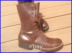 Vintage Army M1948 Russet Combat Boots Hanover Shoe Co. 10-R Korean War Cap-Toe