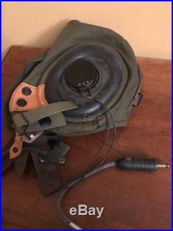 Vintage Gentexite Gentex H3 Fighter Pilot Helmet W Liner Headset Korean War Lot