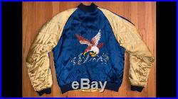 Vintage Japan Korean War Skull souvenir jacket size XL 50's
