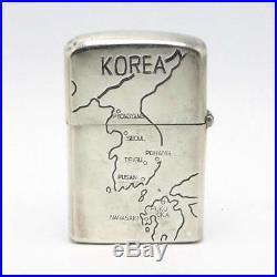 Vintage Korean War 950 Sterling Silver Lighter Case United Nations -Zippo Insert