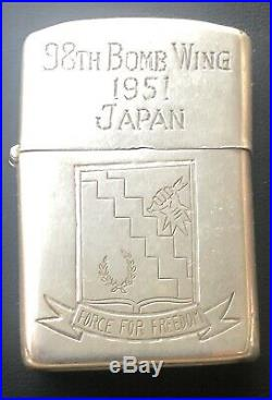 Vintage Korean War Arm Air Force 98th Bomb Wing 950 Silver Zippo Lighter With Map