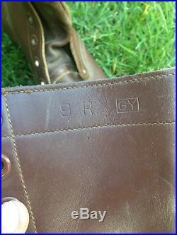 Vintage Korean War Brown Leather Combat Boots 1953 International Shoe Co Size 9R
