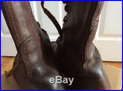 Vintage Korean War Early 1950's Brown Leather Combat War Men's Boots 8.5 D