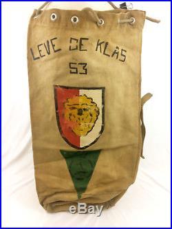 Vintage Korean War Era Painted Military Sea Bag Belgium France 1950s Trench Art
