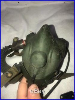 Vintage Korean War Fighter Pilot Flight Helmet + MS22001 Mask Helmet Flight Bag