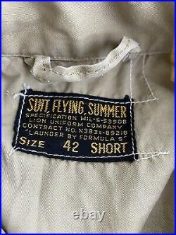Vintage Korean War Flight Suit Beige Pilot Summer Flying Lion Uniform 42 Short