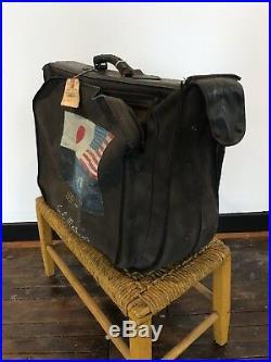 Vintage Korean War Folk Art Painted Military Denim Suitcase WWII Japan Pinup NR