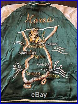 Vintage Korean War Satin Souvenir Jacket Tiger Eagle Map Reversible TTS TOKYO