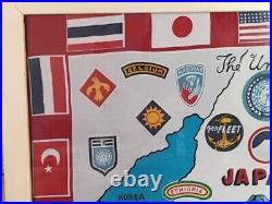 Vintage Korean War Scarf Fabric Flag The United Nations Japan Korea
