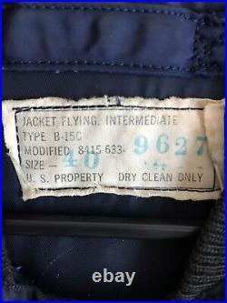 Vintage Korean War US Airforce Navy Blue B-15C Military Flight Jacket Mens 40