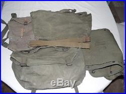 Vintage Korean War US Army Mussette Backpack Field P Pack M1945 + other gear lot