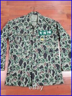 Vintage Korean War US Military shirt Jacket Camo Frogskin