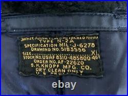 Vintage Korean War USAF N-2A Snorkel Jacket Blue XL Heavy Flying Hidden Bullet