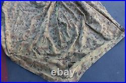 Vintage Korean War Usmc Shelter Half Tent Camouflage W Straps 1953 Iowa Fibre