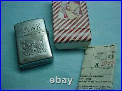 Vintage Korean War Zippo pat. 2032695 with repair box and 1956 zippo work ticket
