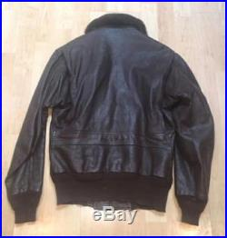 Vintage Leather Bomber Jacket sz 36 US NAVY Pilots G1 Goatskin Korean War