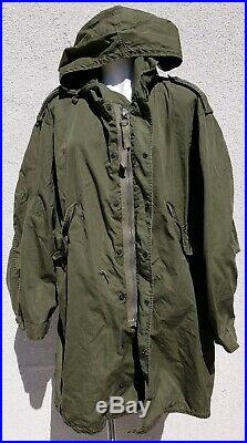 Vintage M-1951 Korean War Era Army Fishtail Green Parka Shell Coat Mod
